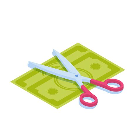 Scissors cutting money. Divide money, share profits or Sale concept Discounts symbol. Cost reduction or cut price. . Vector isometric illustration.
