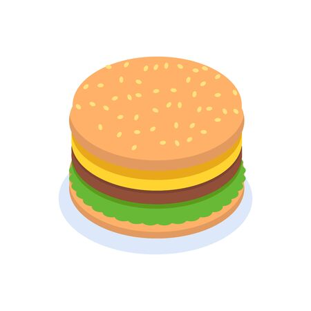 Isometric, Hamburger burger icon concept. Petite American Sandwich. Vector illustration Illustration