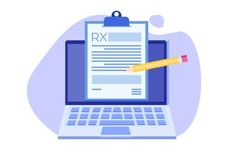 RX prescription form on Clipboard pad on laptop. Online clinic concept.  Vector illustration in flat style.