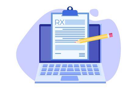 Formularz recepty RX na podkładce do schowka na laptopie. Koncepcja kliniki online. Ilustracja wektorowa w stylu płaski. Ilustracje wektorowe
