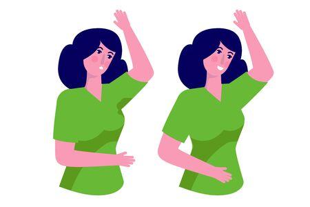 Aisselles humides. Taches malodorantes et moites sur les vêtements féminins. Personnes hyperhidrose, prévention des taches de sueur. Illustration vectorielle.