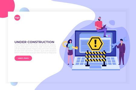 Developing web site, Website under construction, 404 page, Coming Soon concept. Maintenance work. Vector Illustration.