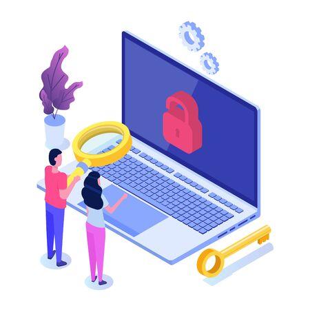 Recherche de vulnérabilité et de bogues, recherche de concept de malware. Illustration isométrique vectorielle.