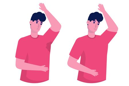Wet armpits.  Smelly,  sweaty stains on male clothes. Hyperhidrosis people, sweat spots prevention. Vector illustration. Stock Illustratie