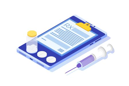 RX prescription form on Clipboard pad on smartphone. Online clinic concept.  Vector isometric illustration in flat style.