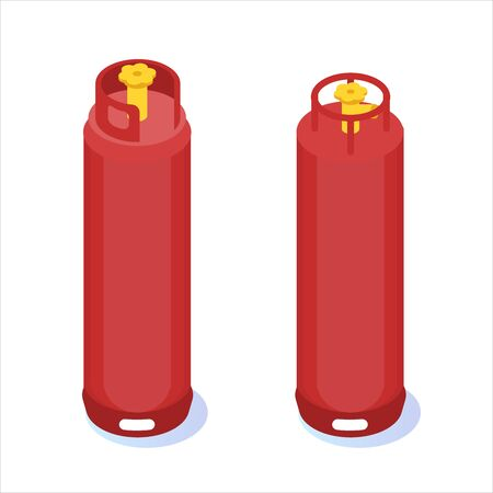 Compressed gas, tank balloon storages isometric icon. Vector illustration Stock Illustratie
