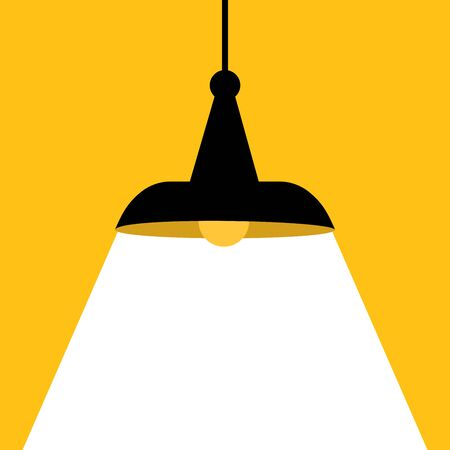 Hanging  Lamp. Lamp bulb Icon with text area. Vector  illustration. Ilustração