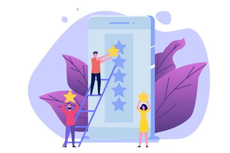 People give gold rating star to the smartphone app.Positive star feedback, Quality assurance survey, Customer review, Quality rating concept. Vector illustration.