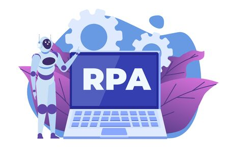 Robotic Process Automation concept, RPA. Robot or Chat bot helps people in  different  tasks. Vector illustration.