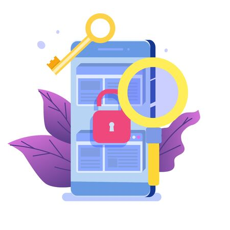 Vulnerability and bugs search, finding malware concept.  Vector illustration. Illustration