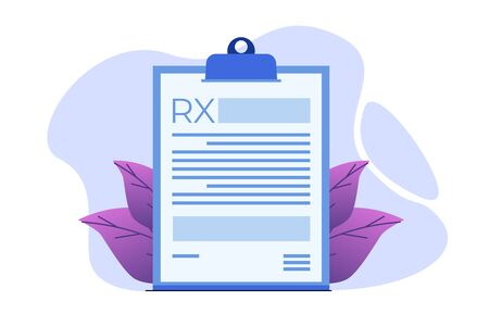 RX prescription form on Clipboard pad. Online clinic concept.  Vector illustration in flat style.