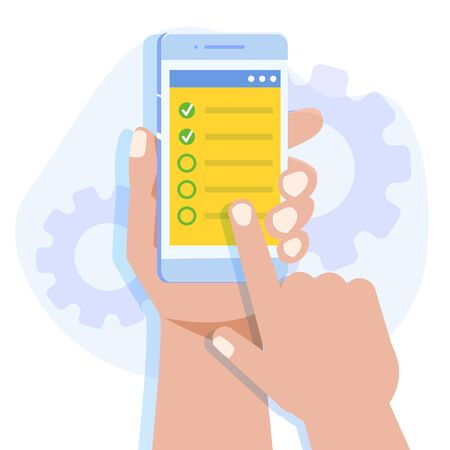 Hands holding smartphone with survey app. Online testing, E-learning, education concept, studying the application form. Vector illustration.