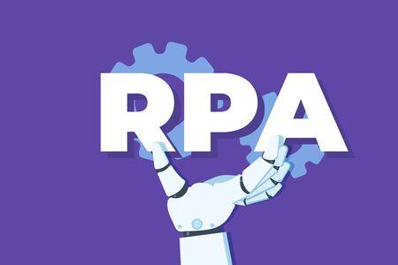 Robotic Process Automation concept. Robot hand holding RPA inscription. Vector illustration.
