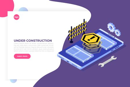 Developing web site, Website under construction, Coming Soon concept page. Maintenance work. Flat Isometric Vector Illustration.