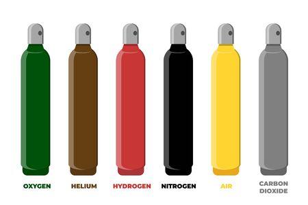 Compressed gas storage cylinder identification color set. Vector illustration.