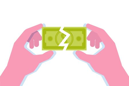 Two hands hold half of paper money bill. Divide money concept, share profits. Vector illustration.