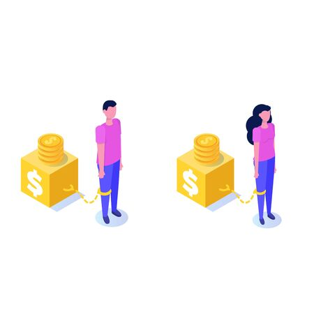 Money slavery concept. Business woman and Business man  chained to money weight  with shackles.  Vector isometric illustration.