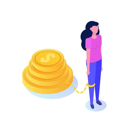 Money slavery concept. Business woman chained to money weight  with shackles.  Vector isometric illustration.