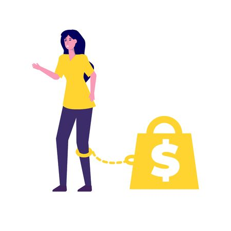 Money slavery concept. Business woman chained to money weight  with shackles.  Vector flat illustration.