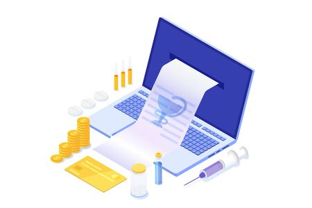 Online pharmacy shopping , Medications Purchase, Buying medicine isometric concept. Vector illustration.