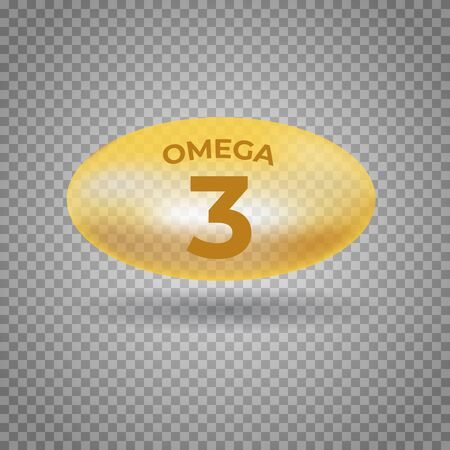 Omega 3 acids pill gold icon. Polyunsaturated fatty. Nutrition skin care design and