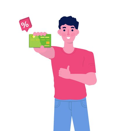 Man with Discount card in hand. Loyalty card program  and customer service. Vector character illustration.