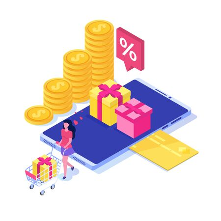 Discount, Loyalty card program and customer service. Vector isometric illustration.