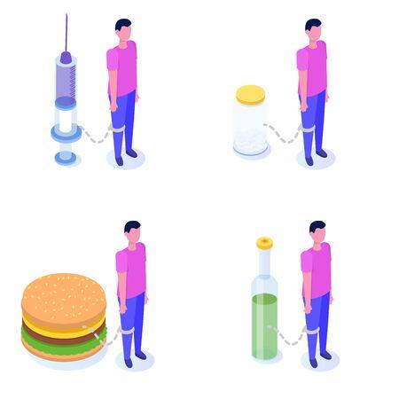 Addiction, bad habits set, alcoholism, drug addiction, gluttony with obesity. Vector isometric Illustrations.