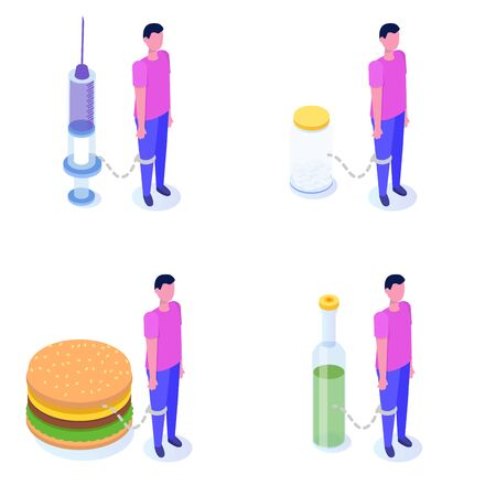 Addiction, bad habits set, alcoholism, drug addiction, gluttony with obesity. Vector isometric Illustrations.