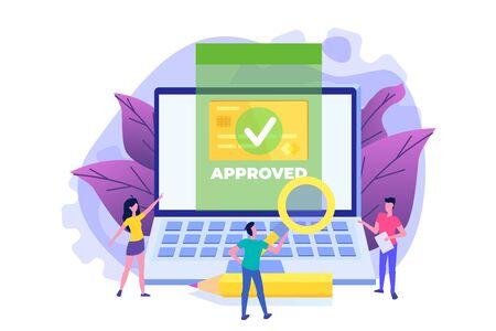 Transazione approvata, transazioni finanziarie, pagamento non in contanti, valuta monetaria, concetto di pagamento NFC. Illustrazione vettoriale.