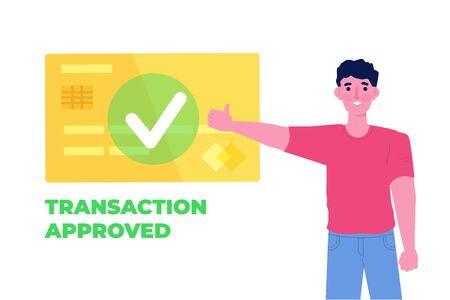 Transaktion genehmigt, Finanztransaktionen, bargeldlose Zahlung, Geldwährung, Zahlungs-NFC-Konzept. Vektor-Illustration.