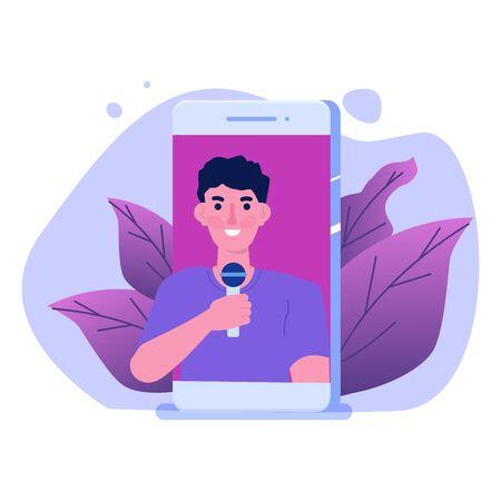 Video blogger, Video tutorials, web vlog,  blog online concept. People On Internet Video.  Tuber character. Vector illustration. Illustration