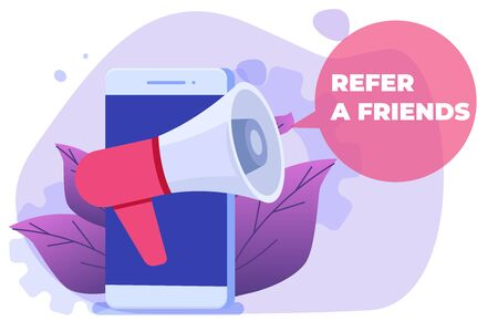 Referral marketing. Refer a friend vector illustration concept. Can use for landing page, mobile app.