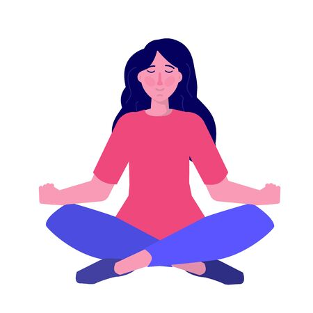 Inner control concept. Finding inner peace. Carefree calm woman meditating. Vector illustration