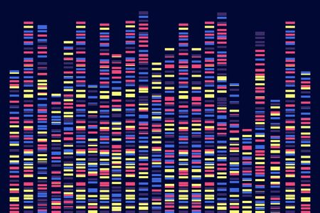 Genomic data visualization. DNA test. Vector  illustration