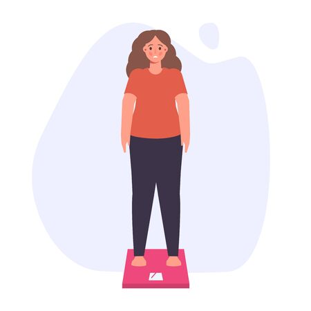 Weight problems or Weight loss, diet program concept. Vector illustration.