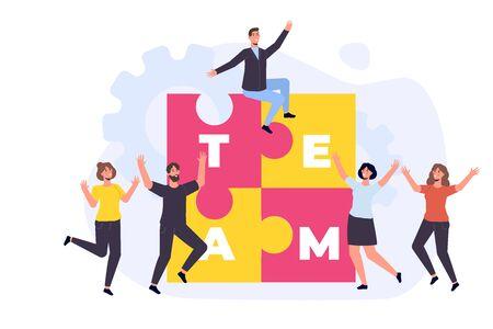 Effective time management. People completed business plan. Team rejoices task done  illustration