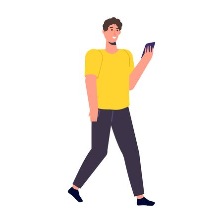 Man with phone in hand. Checking social networks. Vector illustration Illusztráció