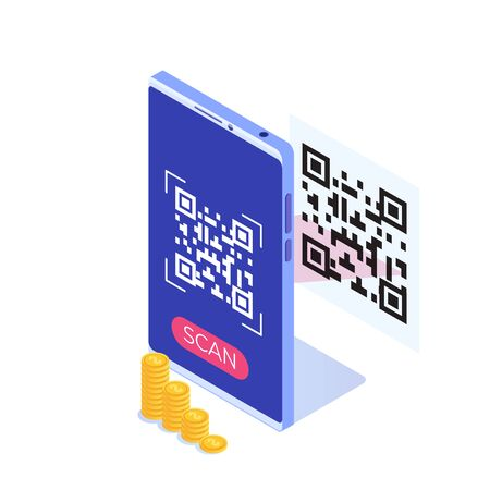 Use smartphone for QR code scanning. Vector isometric illustration.