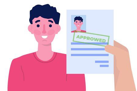 Job application Approved document paper. Vector illustration 일러스트