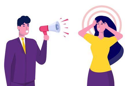 Aggressive management concept.  Leader or Boss screaming at manager. Vector illustration. Ilustração