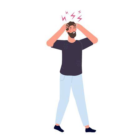 Headache attack, compassion fatigue. Head pain vector illustration.