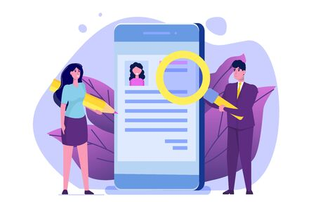 Hiring, select resume process concept. Company hr managers hiring a employee online.  Vector illustration