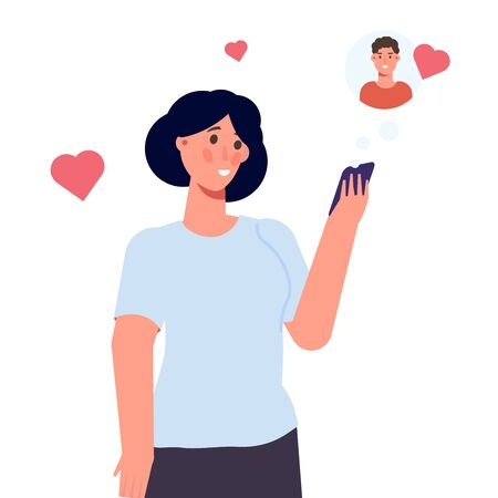 Online dating concept. Woman holding a mobile phone in hands. Vector illustration flat design style.