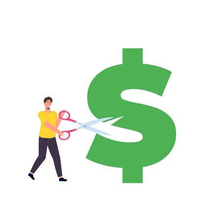 Cost reduction, cutting dollar, big discount consept. Flat vector  illustration.