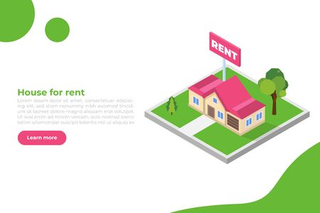 Estate agency concept webpage template. Rent cottage icon. Vector isometric illustration. Vectores