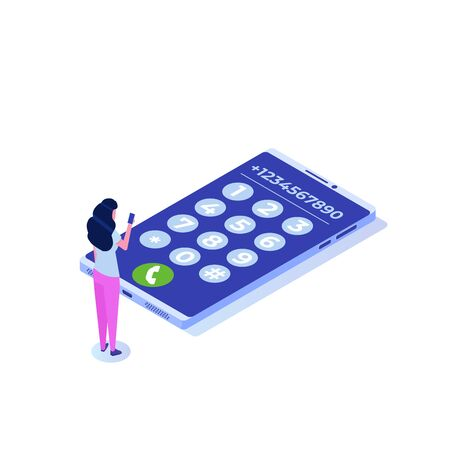Dial number, connection concept. Isometric style Vector illustration.