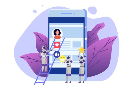 Social media bots,  Fake accounts concept.  Automation method to gain followers. Vector illustration.