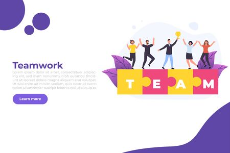 Effective time management. People completed business plan. Team rejoices task done  illustration web page template.