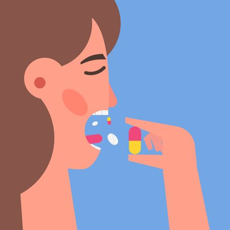 Pills addiction concept. Woman  taking a pill in to her mouth. Vector illustration.